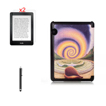 "Ultra Slim Print Stand Leather Case Sleeve Cover + 2 * Clear Film + Stylus For Amazon Kindle Voyage 6 "" 2014 Ereader Tablet"