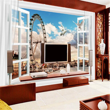 beibehang home decoration painting background wall windows Ferris wheel British London Big Ben TV backdrop wall papel de pared(China)