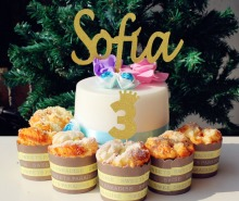 16ct Happy 3rd 3th birthday princess party crown cupcake toppers gold glitter paper tiara three custom name monogram cake topper