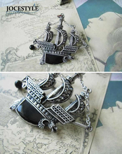 Punk Vintage Brooch Silver Sailing Boat Ship Pirate Vessel  Brooch Pin Crystal the Black Pearl  broches for Men Women 2017 HOT