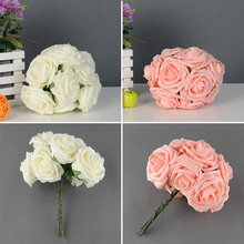 Pretty Charming 10 Heads Lovely Cute Artificial Rose Flower Wedding Bridal Bouquet Home Decor 2 Color(China)
