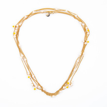 Longline Gold Filled Chain Necklace with Faux Pearl and Plum Blossom Flower Station Art Deco Layered Strand Chain Long Necklace