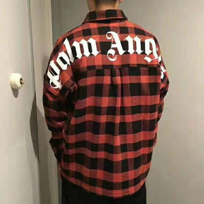 2019 new Korea hiphop Men Women Palm Angels Long Sleeve Shirt Oversized Casual Fashion Cotton Pockets Red blue Palm Angels shirt