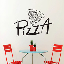 A Piece Of Pizza Wall Stickers Home Decor Restaurant Interior Design Wall Decals Vinyl Adhesive Stickers(China)