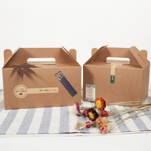 Brown Packaging Kraft Paper Mousse Box with Handle For Candy\Cake\Dessert food packing box \100pcs/lot(China)