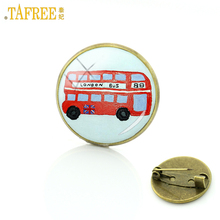 TAFREE new vintage London Double Decker Bus brooches glass cabochon happy kids school bus charms badge brooch pins jewelry H154(China)