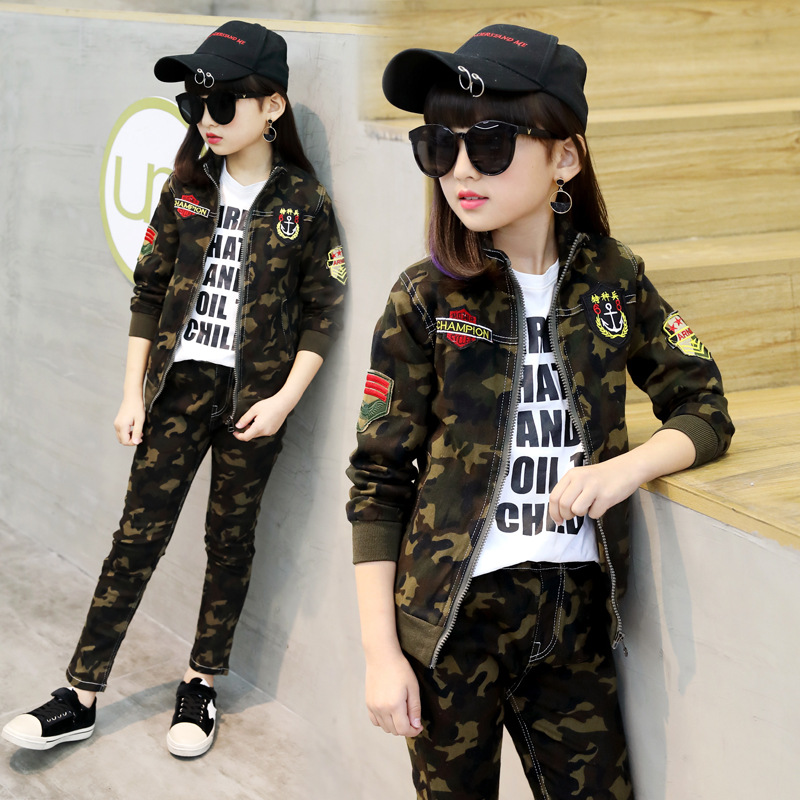 Kids Clothing Set Military Uniform Unisex Boys and Girls Autumn Spring Camouflage 2pcs Zipper Coat + Pants Age 3 5 9 12<br>