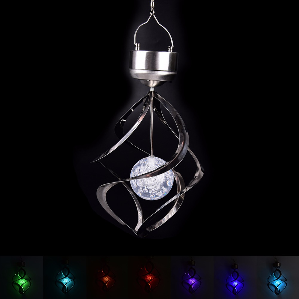 Hot Sale New Color Changing Solar Powered LED Wind Chimes Wind Spinner Outdoor Hanging Spiral Garden Light Courtyard Decoration