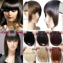 Beauty lady Short Front Neat bangs Clip in bang fringe Hair extensions straight 2015 Fashion NEW
