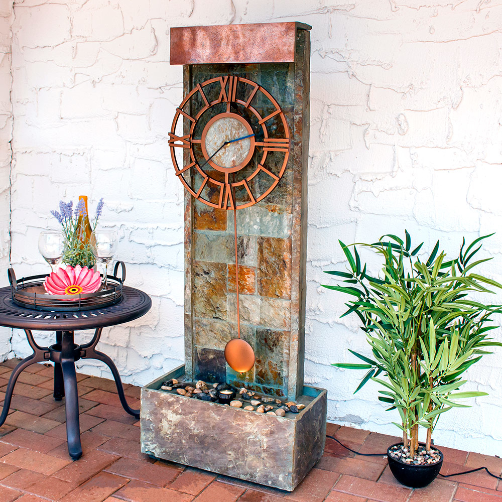 Sunnydaze Slate Indoor/Outdoor Water Fountain with Clock and LED Spot Light, 49 Inch Tall