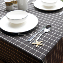 Brown Plaid office meeting table cloth American countryside round table cloth simple plaid dinning table cover coffee tablecloth(China)