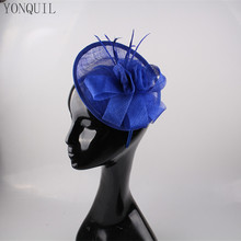 Royal blue cocktail hats flower feather sinamay fascinator women hair accessories elegant fascinators for wedding races 17COLORS