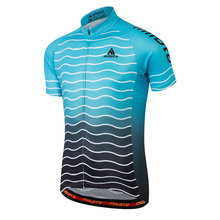 Youth Men Cycling Jersey Wear Blue wave Ropa Ciclismo Bike Short Shirt Cycling Clothing Race Bicycle Clothes Outdoor Sportwear(China)