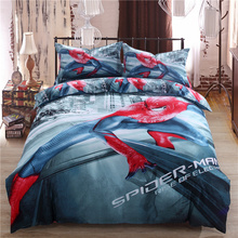 Spiderman Cartoon 3d printed comforter bedding sets twin full queen king size bedspread cotton boy's bedroom decor green color