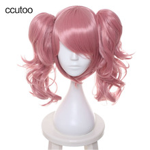 ccutoo Pink Short Base Body With Double Chip Removable Ponytails Cosplay Wigs For Female's Party Synthetic Full Hair