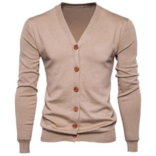 Buy Autumn Men Sweater Casual Button V-neck Sweaters Long Sleeve Cotton Knit Cardigan Slim Fit Pull Homme Multicolor for $14.87 in AliExpress store
