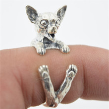 RONGQING Antique Silver Cute Animal Chihuahua Rings Adjustable Dog Rings Women Funny Jewelry Gifts JZ004