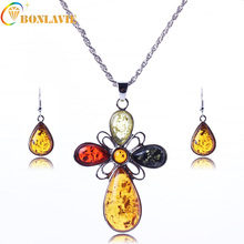 Unique Jewelry Sets Retro Silver Plated Antique Personality Classic Cross Jewelry Sets Yellow Stone Necklace Earrings