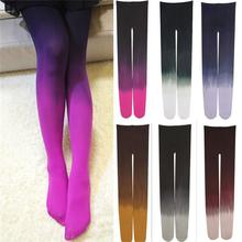 Womens Four Seasons 120D Velvet Gradient Opaque Seamless Pantyhose Stockings Candy Color Tights Medias Tayt 6 colors(China)