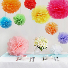 1PCS Big Size Tissue Paper Pom Poms DIY 14''(35CM) Wedding Party Decoration Paper Flower For Home Garden Wedding Car Decoration(China)