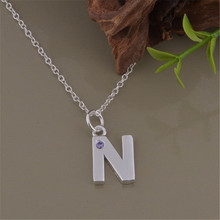 New listing  silver plated jewelry factory direct fashion charm women sparkling crystal CZ letter N necklace free shipping