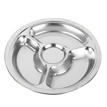 1pcs Stainless Steel Students Grid Dinner Round Divided Plate Plate 4 Sections