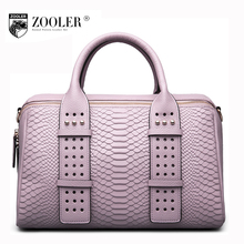 ZOOLER Women genuine leather handbag 2017 new winter ladies cowhide crocodile pattern Boston tote bag female rivet shoulder bags