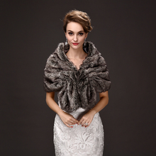 wholesale new winter 2016 bridal gowns faux fur wool shawls bridesmaid dresses warm rabbit hair color shawl miss manners cloak(China)