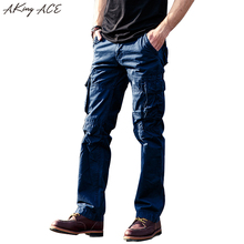 2017 Washed Man baggy cargo pants multi side pockets patchwork trousers for male Loose fit cargo pants military style, ZA212(China)