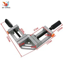 QSTEXPRESS Double handle 90 Degrees Angle Clamp Right Angle Woodworking Frame Clamp Angle clip clamp aluminum alloy frame type