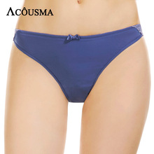 Buy ACOUSMA Women Sexy Floral Lace Embroidery Bowknot Underwear Soft Panties Briefs Seamless Transparent Cotton Crotch Solid Blue
