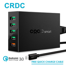 CRDC For Qualcomm quick charge 3.0 5 Ports Smart Mobile Phone Charger,Desktop USB Charger for iPhone 7 Samsung s8 Xiaomi lg etc