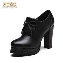 Zapatos Mujer Tacon Shoes Bowtie Shoes Zipper Pump High Heel Round Head For Sweet Woman 67008