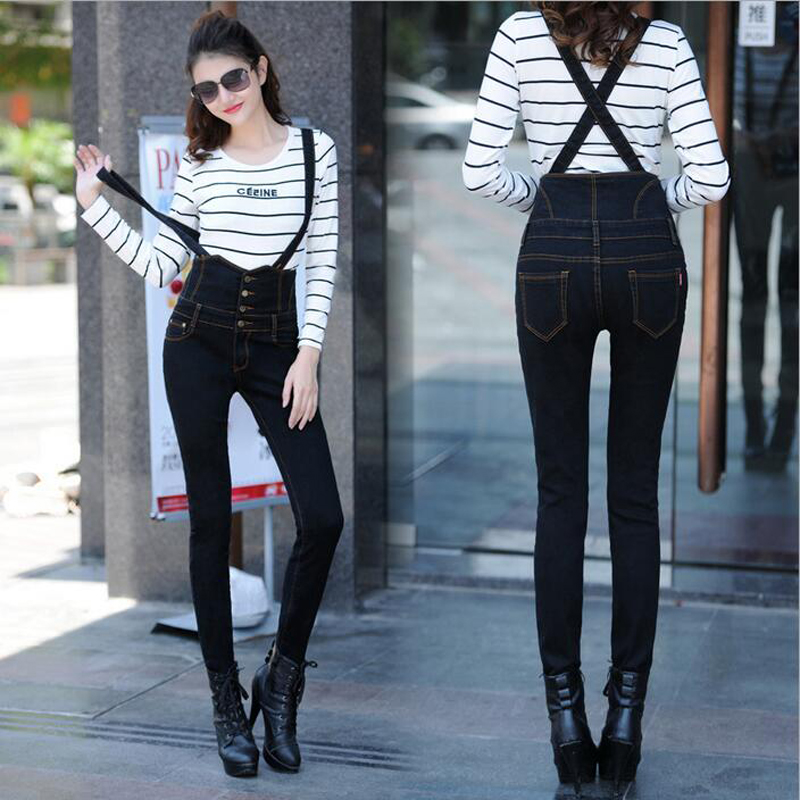 2016 New Arrival Fashion Black High Waist Bib Jeans Woman Suspender Pencil Skinny Jeans Single Breasted Pocket Denim PantsÎäåæäà è àêñåññóàðû<br><br>