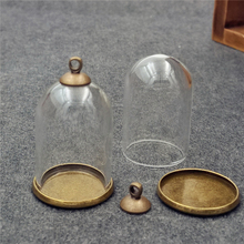 20sets/lot 30*20mm tube glass globe ordinary antique bronze color base beads cap set glass vials pendant glass bottle findings(China)