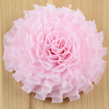 10pcs Layered Hair Flower 7cm Fashion Shabby Chiffon Flowers with Double Prong Clips Mint Peach Lime White Neon Pink