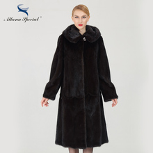 Athena Special Long Type Women Real Mink Coats Ladies Natural Genuine Fur Coats Mink China Luxury Mink Fur Clothing Plus Size(China)