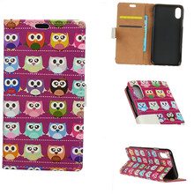 10PCS Cute Owl Bird Colored Drawing Pattern PU Leather Flip Cover Magnetic Snap Stand Card Slot Wallet Case for Apple iPhone X(China)