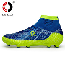 Leoci Men  Soccer Shoes High Ankle Football Boots Plus Size Soccer Cleat Boots Kids Boys Football Shoes Chaussures de Foot S002