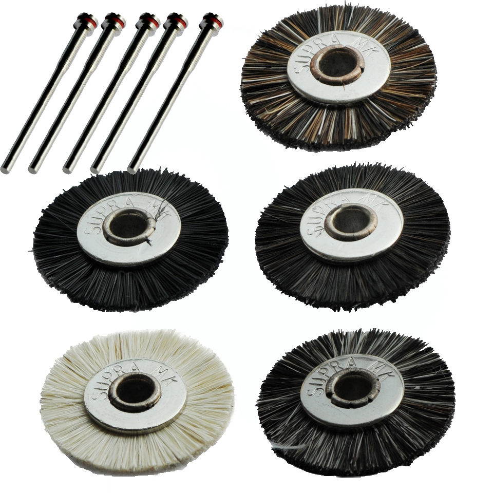 100pcs mini Unmounted polishing brush abrasive tools dremel rotary tools accessories 19mm with 5pcs mandrels for dremel tools<br><br>Aliexpress
