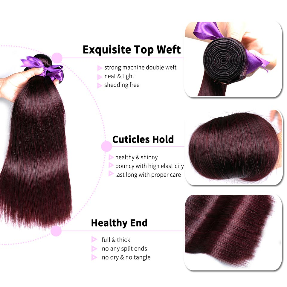 Pinshair Burgundy Straight Hair Bundles Deals Human Hair Weave 4 Bundles Non Remy Pre-colored Brazilian Hair Extensions No Smell (57)