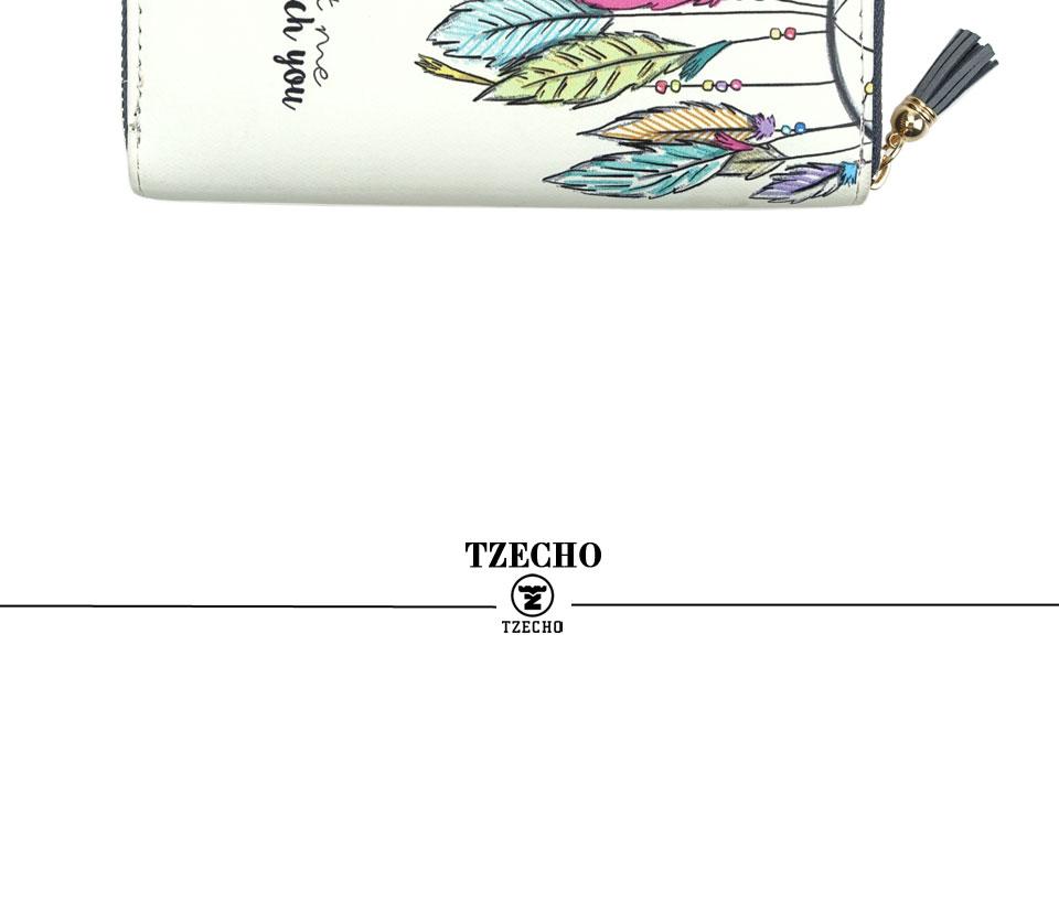 HTB1fKusRFXXXXblXFXXq6xXFXXXF - TZECHO Women Wallets PU Print Dream Catcher Carton Long Ladies Purses Coin Pocket Card Holder Clutch Zipper Wallets for Women