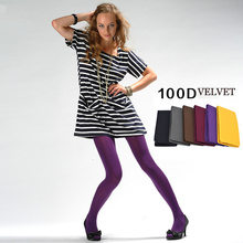 Buy 100D Vevlet Solid Color match Lady tight 6 color Soft feel High elasticity women pantyhose