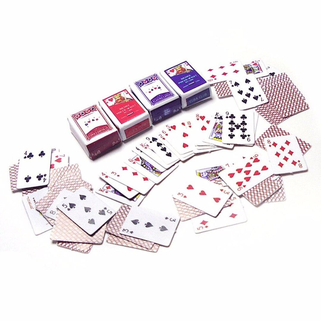 1 Set 1:12 Cute Miniature Dollhouse Cute Mini Poker Playing Cards Style Random Mini Cute Poker Doll Accessories