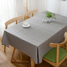 Solid Grey Beige Color Linen Tablecloths Nordic Style Tablecloth Waterproof Table Cover For Home Decor Party Dining Table Cloth(China)