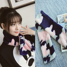 PINMI Camouflage Rabbit Fur Collar Women Winter Warm Scarf Fashion Cute Scarves Luxury Brand Design Scarf for Girl Gift 2 Colors
