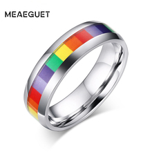 Buy Meaeguet Fashion Women Rainbow Rings Stainless Steel Wedding Rings Party Jewelry Wholesale Lesbian Rings Jewelry for $2.59 in AliExpress store