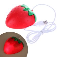 Novelty Strawberry USB Optical Mouse,Sweet strawberry Fruit wired USB Mice red heart shape cartoon mouse for Computer PC/Laptops
