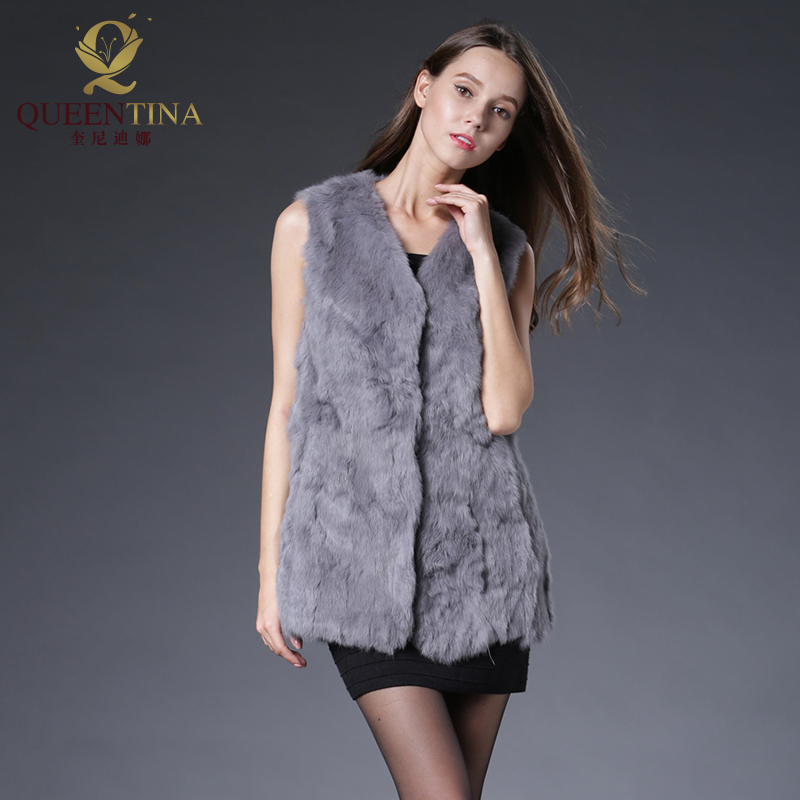 Winter Spring Rabbit Fur Vest Fashion Real Fur Long Gilet Female Natural Fur Vests Outwear High