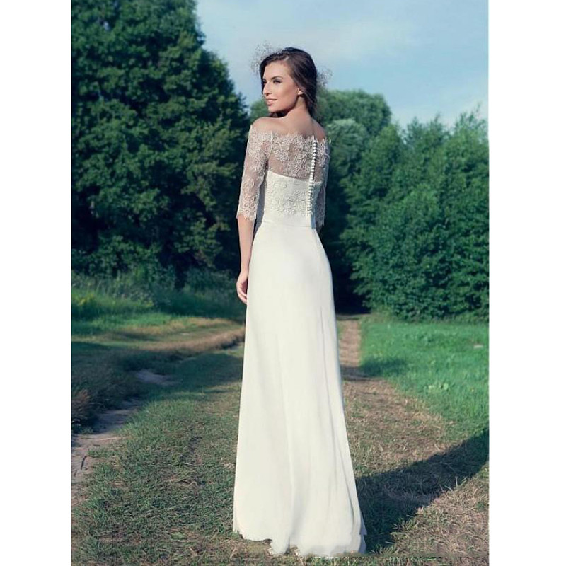 Simple Elegant Country Style Wedding Dresses 2016 Sheath Strapless Bridal Gowns with Sash Sheer Romanti Lace Jacket Illusion Sleeves